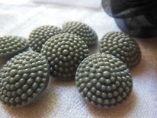 LOT 6 boutons anciens en verre gris granité année 40/50 1,7 cm ref 2184