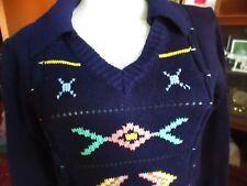 MEDIUM True Vtg 70s SOUTHWESTERN GRAPHIC NAVY BLUE POLO Hippie Knit Sweater Top