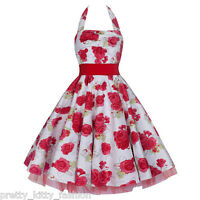 PRETTY KITTY WHITE RED ROSE FLORAL SWING ROCKABILLY PROM PARTY PROM DRESS 8-20