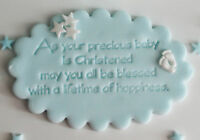 EDIBLE BABY BOY/GIRL CHRISTENING NAME PLAQUE CAKE TOPPER DECORATION  STARS