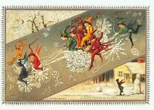 CHRISTMAS  LITTLE ELVES  RIDING BICYCLES SNOWFLAKE BIKES REPROD. (X-247)