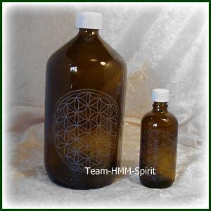 Die Blume des Lebens auf Apothekerflaschen aus Braunglas in 2 Größen erhältlich
