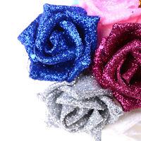 5pcs Colourful Full Glitter Roses Flowers Bride Bouquet Home Wedding Decor RDUJ