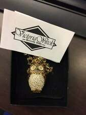 """Watch Pendant 28"""" Boxed Chain Victoria Wieck Crystal Enamel Owl Necklace"""