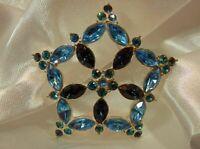 Vintage 80's Royal And Baby Blue Sparkling Rhinestone Star Flower Brooch  633AG9