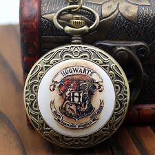 Retro Hogwarts Quartz Big Pocket Watch Necklace Chain Vintage Bronze Steampunk