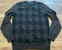 BANANA REPUBLIC Gray Blue Plaid V-Neck Merino Wool Casual Sweater Top mens Small
