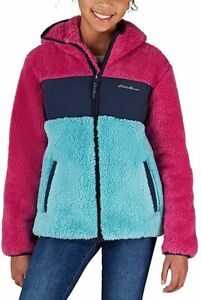 Eddie Bauer Girls' Sherpa Fleece Hooded Jacket, Pink/Navy Colorblock M 10/12