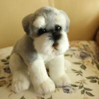 Lifelike Plush Schnauzer Dog Puppy Toy Realistic Stuffed Animal Kids Gift 9.8in