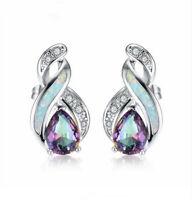 Fashion Woman rainbow Crystal White Fire Opal Charm 925 Silver Pendant Earring