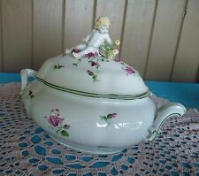 AUGARTEN WIEN Large OVAL Hand-Painted Flowers TUREEN #6043 Figural Puttii, Fruit