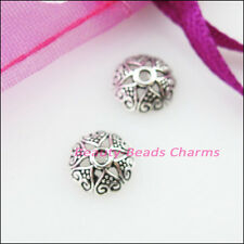 40 New Connectors Heart Flower Tibetan Silver End Bead Caps 8mm