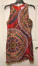 Nicole Miller New York Women Size 14 Dress Multi Color With Hem Balls Sleevelees
