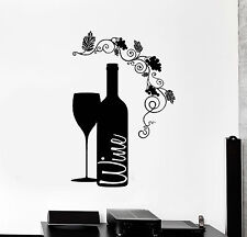 Vinyl Wall Decal Wine Bottle Glass Grape Alcohol Bar Stickers (ig4232)