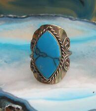 Howlite Blue Turquoise Ethno Inka Maya Style 22 ~ Ring Alpaca Nickel Silver