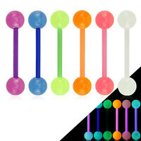 "20 Pc Glow In The Dark Bioflex Barbells Tongue Nipple Rings 14G 5/8"" No Metal"