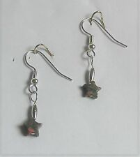 "Earrings Pink & Green Unakite Stars 1 1/2"" - Sterling Silver .925 Accents -Hypoa"