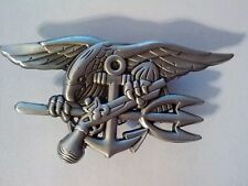 United States Navy Antique Silver Seal Team Badge Trident   2 3/4""