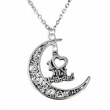 Fashion 925 Sterling Silver I Love My Husband Moon Necklace (Pendant + Chain)