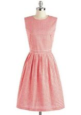 MYRTLEWOOD MODCLOTH Checkered Houndstooth Diners Delight Dress - LARGE