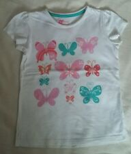 GIRLS WHITE BUTTERFLY T SHIRT TOP AGE 5 YEARS TOP CONDITION