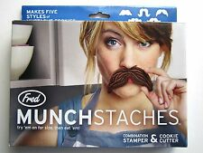FRED MUNCHSTACHES   COMBINATION MUSTACHE STAMPERS & COOKIE CUTTERS-5 STYLES  NIB