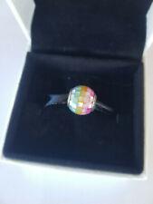 7917183MPR Genuine Pandora Multi Coloured silver charm + box + bag