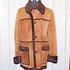 VTG 60s 70s Campus Rugged Country 40L 100% Leather Brown Rancher Shearling Coat