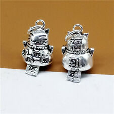 Sterling Silver Good Fortune Cat Bell Charm Luck Lucky Pendant Chinese Fu