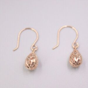 New Solid 18K Rose Gold Hollow-Raindrop Dangle Earrings 0.95inch H