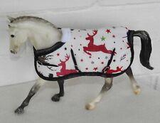 Handmade rug blanket 1:12 Classic Breyer toy horse Christmas white red reindeer