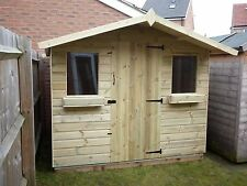 QUALITY MADE 8 X 6 CHALET STYLE T&g WOODEN STORAGE SHED