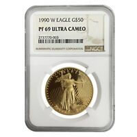 1990 W 1 oz $50 Proof Gold American Eagle NGC PF 69 UCAM (MCMXC)