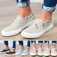 Damen Halbschuhe Canvas Schuhe Loafer Slip On Flache Freizeitschuhe Low Sneaker