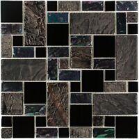 Modular Black Gray Purple Iridescent Glass Stone Mosaic Tile  Backsplash MTO0281