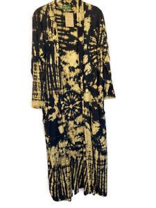 Tie Dye Duster Jacket Boho Hippie Black Knit Rayon Spandex Kathmandu Imports M