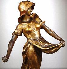 1900 CHERC GOLDSCHEIDER GRND STATUE SCULPTURE ART NOUVEAU DECO TERRE CUITE FEMME