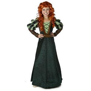 Girls Kids Brave Forest Princess Merida Green Halloween Cosplay Costume Dress