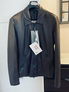 GIORGIO BRATO Mens Leather Bomber Jacket Dark Brown IT52/US40/M (NWT $800) Italy