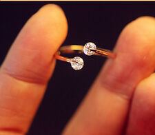 Fashion Women Gold Plated Crystal Bridal Engagement Ring Adjustable Size