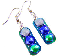 DICHROIC Glass EARRINGS Green Silver Blue Polka Dot Patterned Dangle Surgical 1""