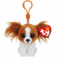 "TY Beanie Baby 4"" BARKS the Dog Key Clip Plush Stuffed Animal Collectible Toy"