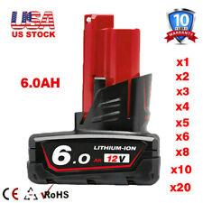 For Milwaukee 12V M12 Lithium XC 6.0 Battery 48-11-2460 2401 2420 2411 Cordless