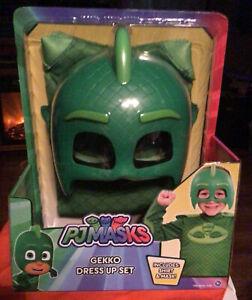 PJ Masks Gekko Deluxe Dress Up Top 4-6X & Plastic Mask Set ~ New In Box