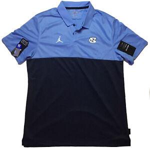 UNC Tarheels Jordan Brand Coach's Polo Shirt Carolina Blue/Navy LARGE NWT