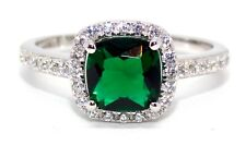 Sterling Silver Emerald And Diamond 2.65ct Ring (925) Size 9 (R) Free Box