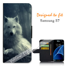 For Samsung Galaxy S7 Wallet Flip Phone Case Cover White Wolf Y00767