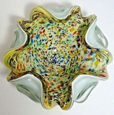 COLORFUL HANDCRAFTED WHITE CASED ART GLASS BOWL