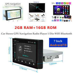 Touch Screen 7 inch Android 10 Car Stereo GPS Radio Single 1 Din + BACKUP CAMERA