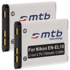 2x Batería EN-EL10 ENEL10 para Nikon Coolpix S700, S3000, S4000, S5100